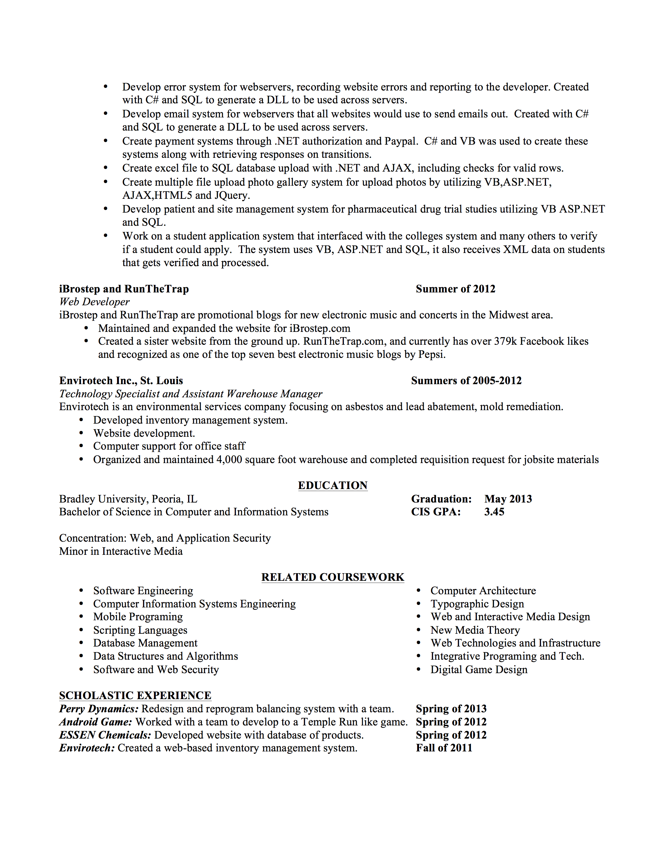 sample resume for web